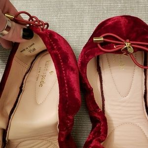 c10311d32d9d kate spade Shoes - NEW Kate Spade The Globe Red Velvet Ballet Flats